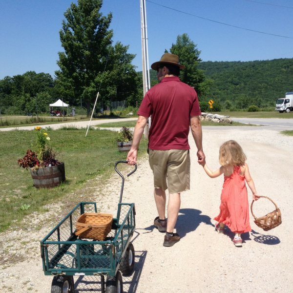 Father with little girl at Pietree Orchard Maine