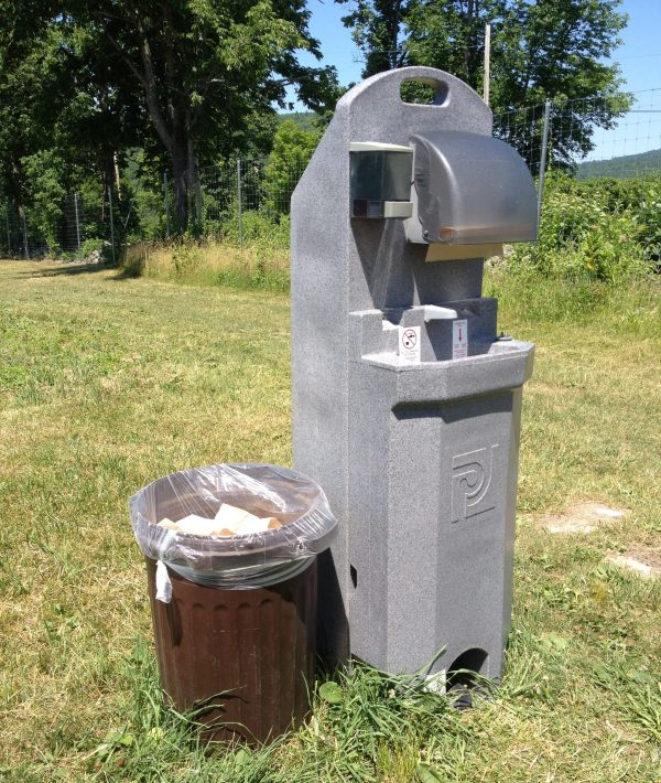 handwashing station at u-pick farm