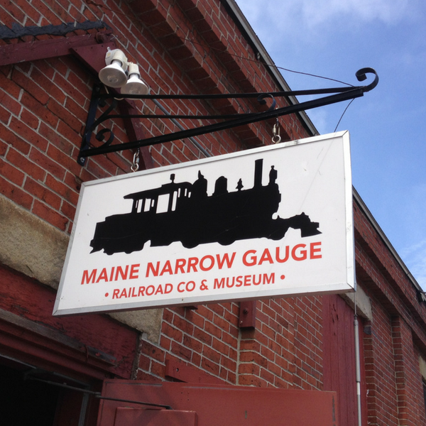 Sign for Maine Narrow Gauge Railroad Portland Maine