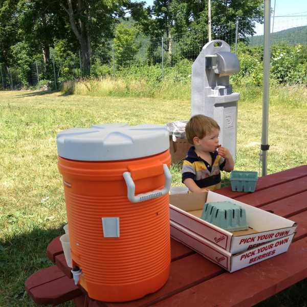 Water and hand washing station at Pietree orchard